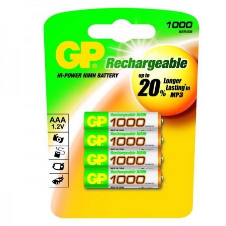 GP NiMH mikroceruza akkumulátor (AAA) 1000mAh 4db-os