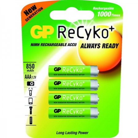 GP ReCyko+ NIMH mikroceruza akkumulátor (AAA) 850mAh 4db-os